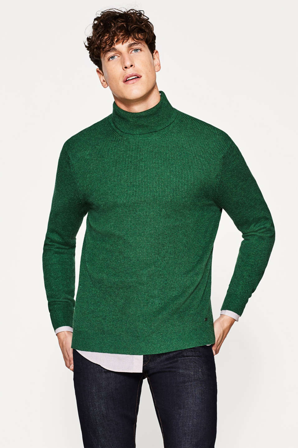 Esprit - Elegant polo neck jumper with cashmere