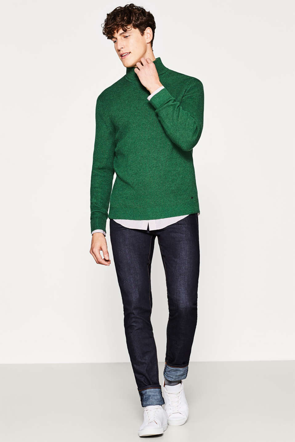 Elegant polo neck jumper with cashmere