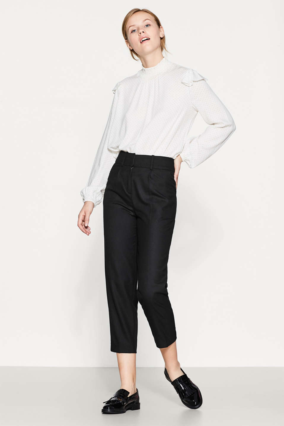 Esprit - Slim-fitting culottes with pressed pleats