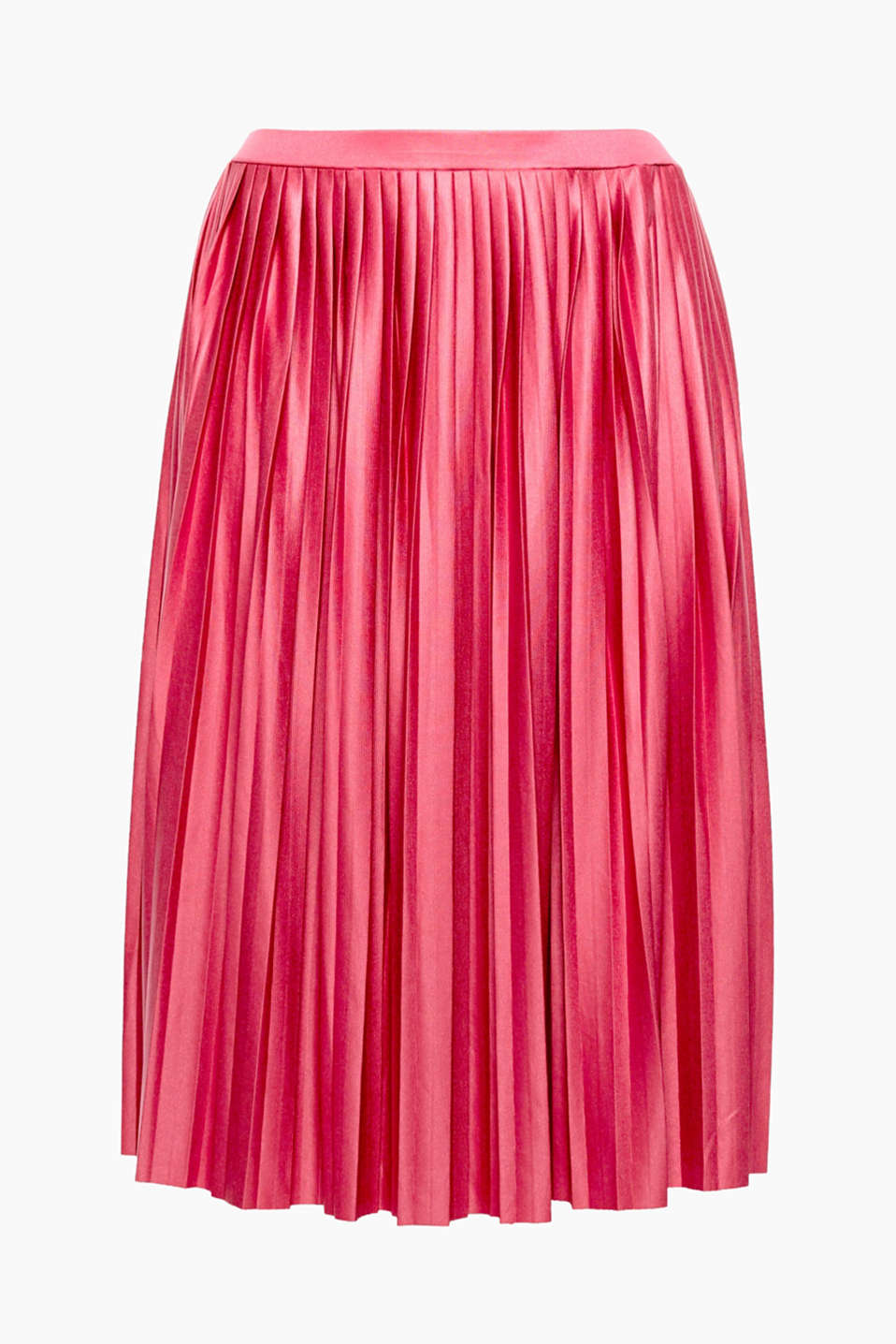 This floaty, pleated, midi-length skirt is ultra-feminine and has a striking shimmer.