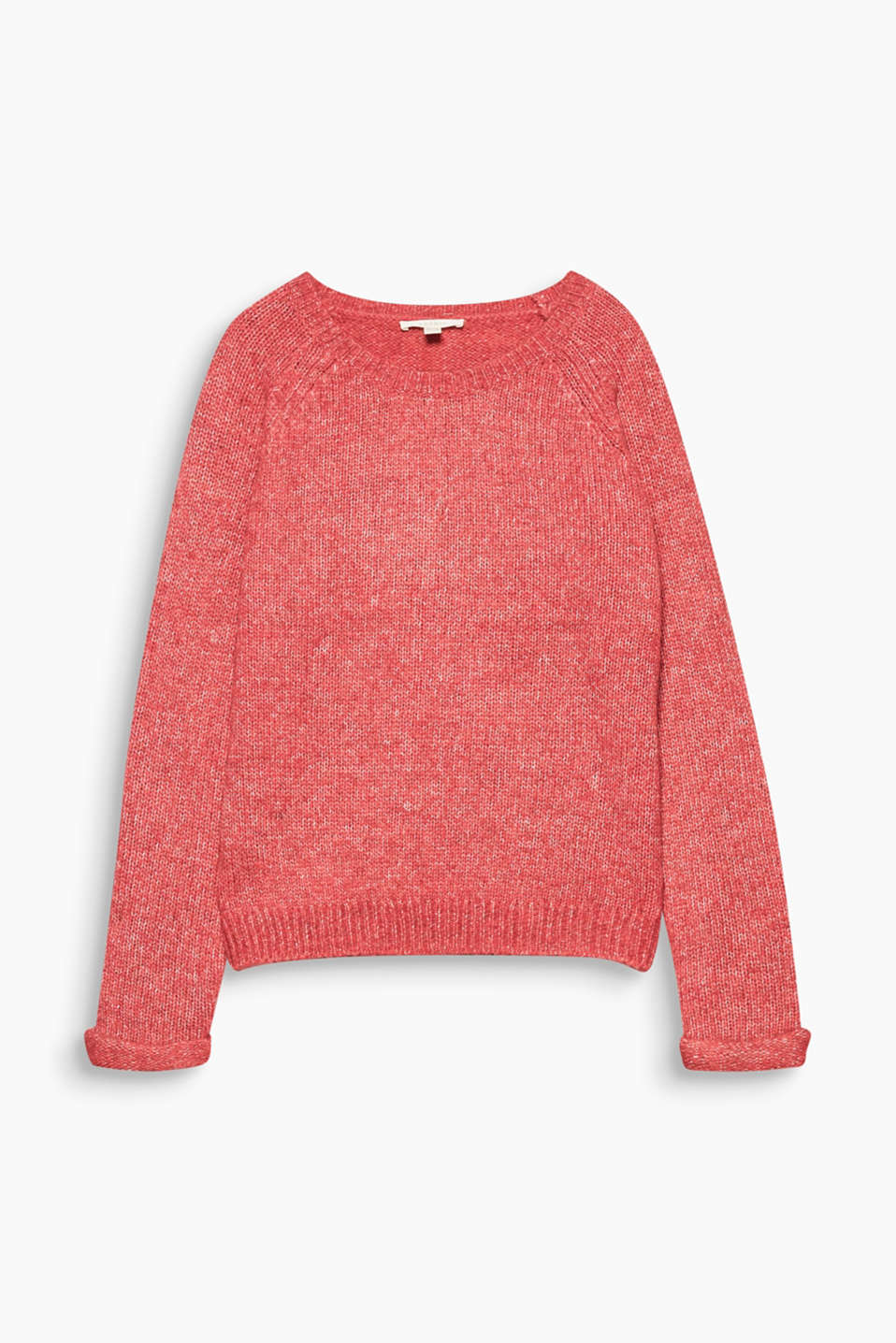 To snuggle up in: Soft round neck jumper in a melange finish and with a warm percentage of alpaca.