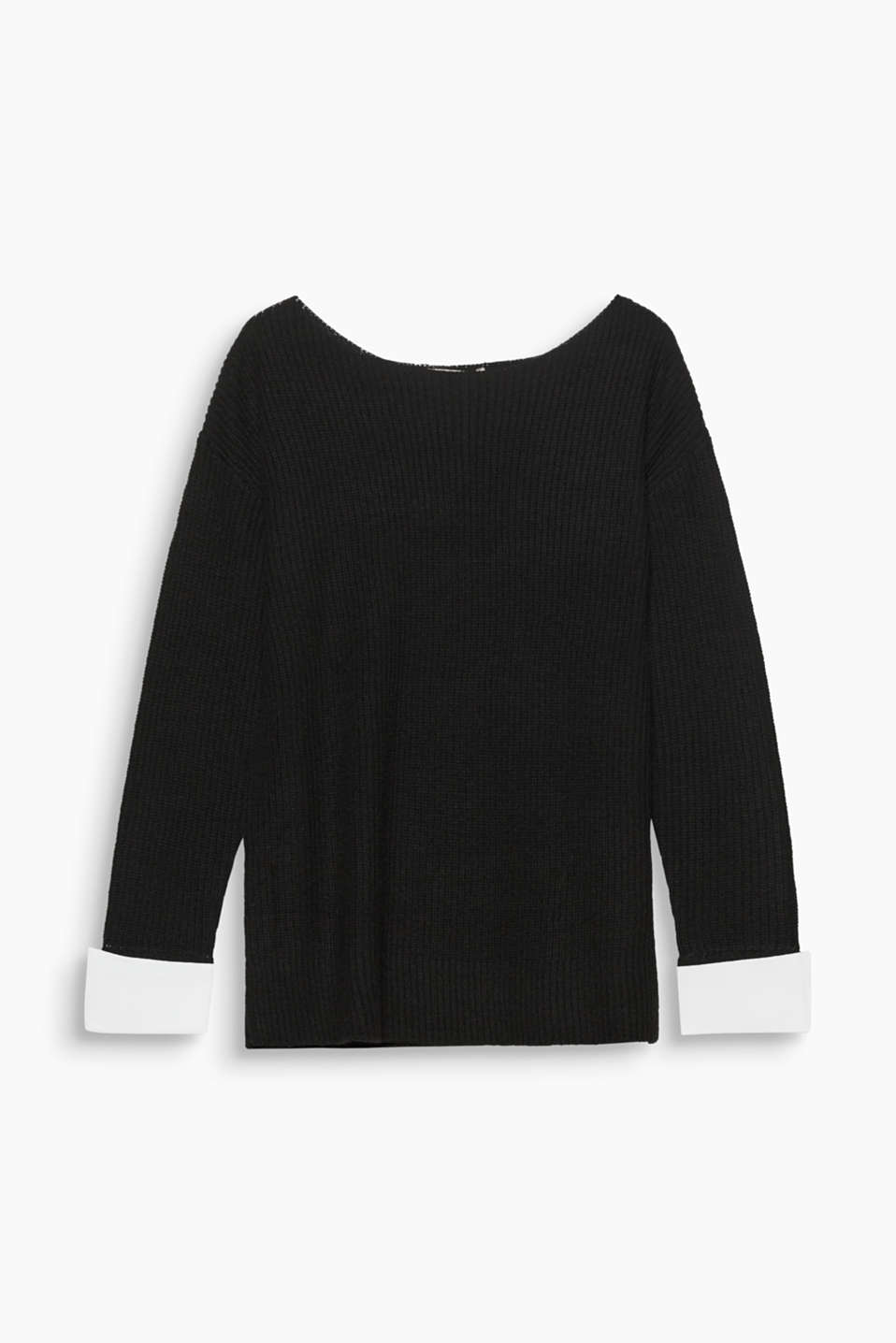 Wide cuffs made of cotton cloth add a smart accent to this soft, rib knit jumper.