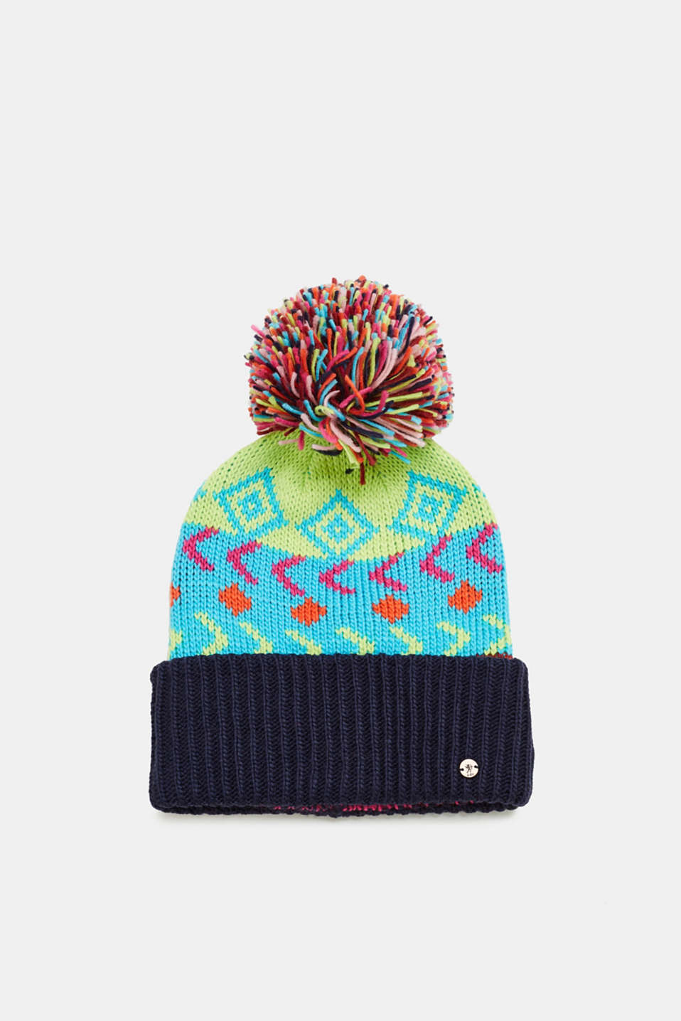 edc - Multi-coloured hat with a pompom