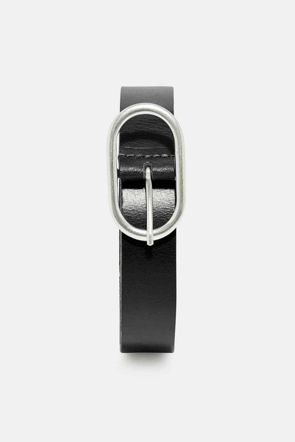 edc - Leather belt with a satined metal buckle