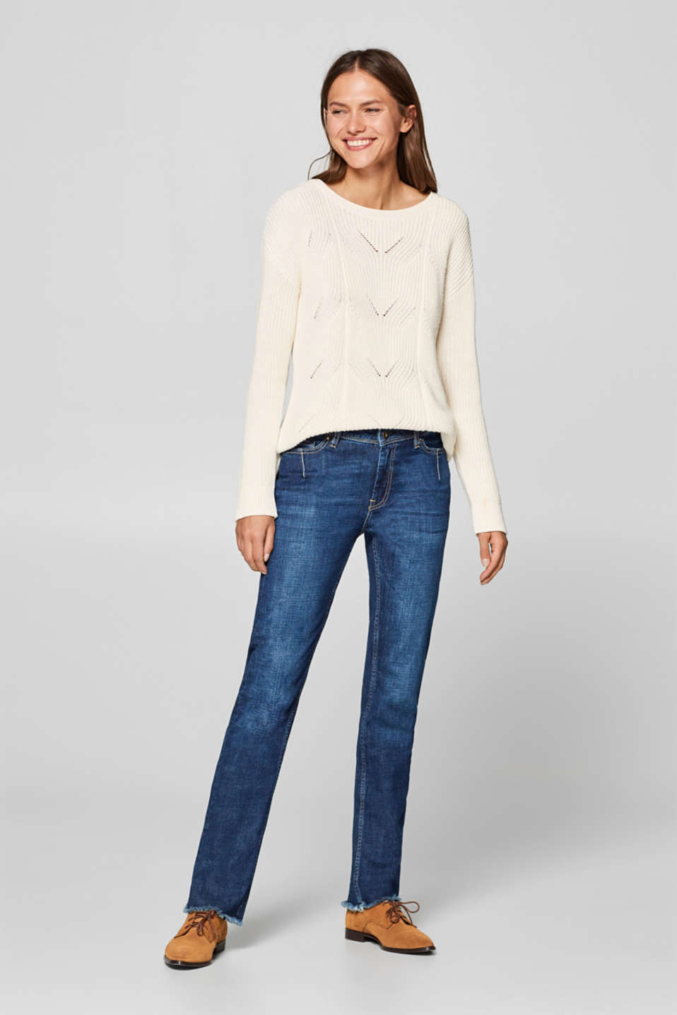 edc - Stretch jeans with frayed turn-ups