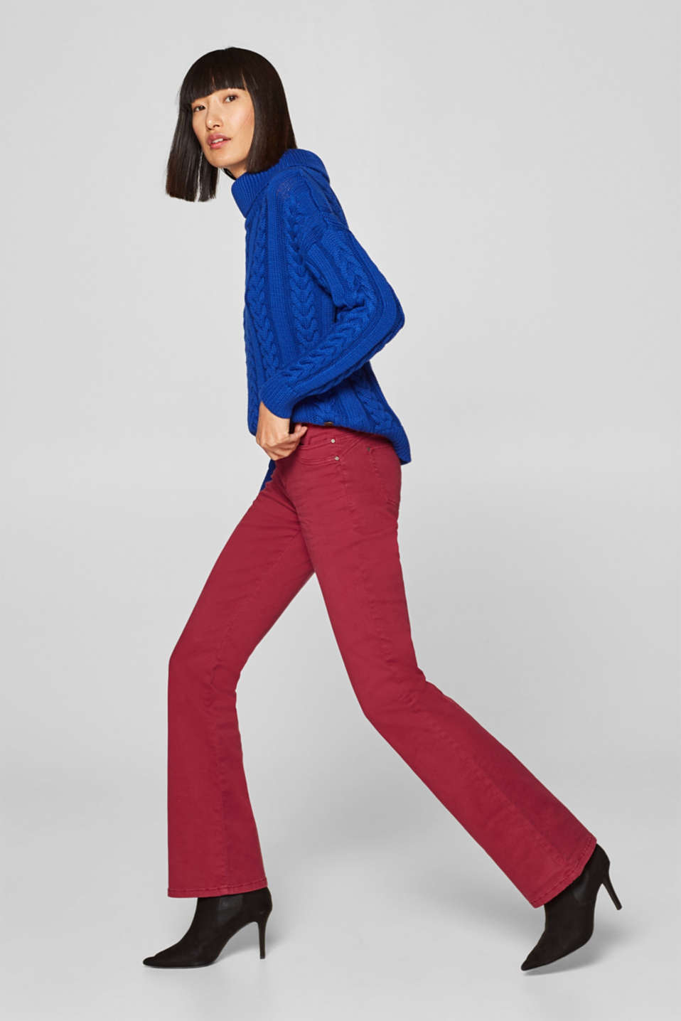 edc - Colourful, bootcut stretch trousers