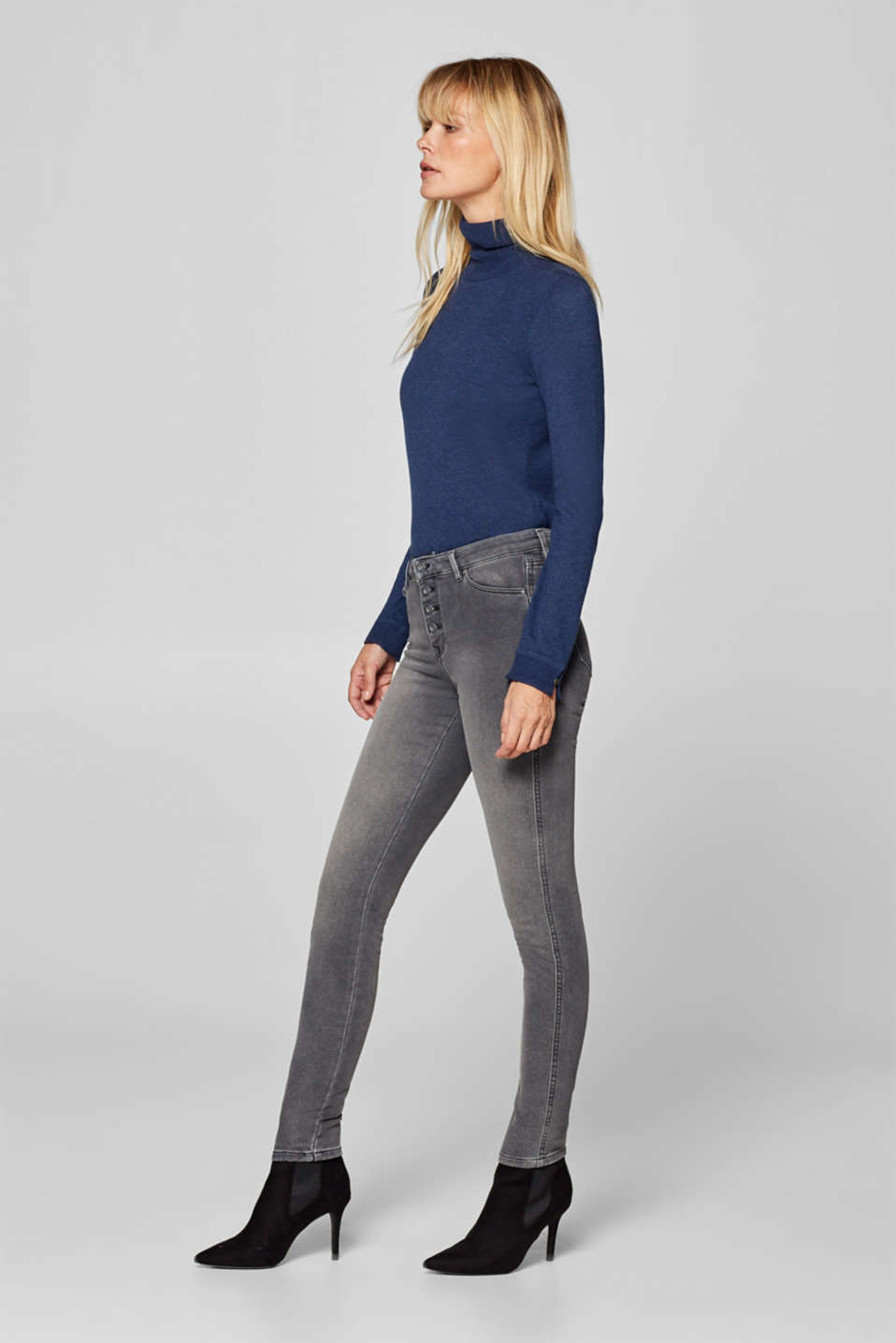 edc - Jeggings with a button placket in tracksuit fabric