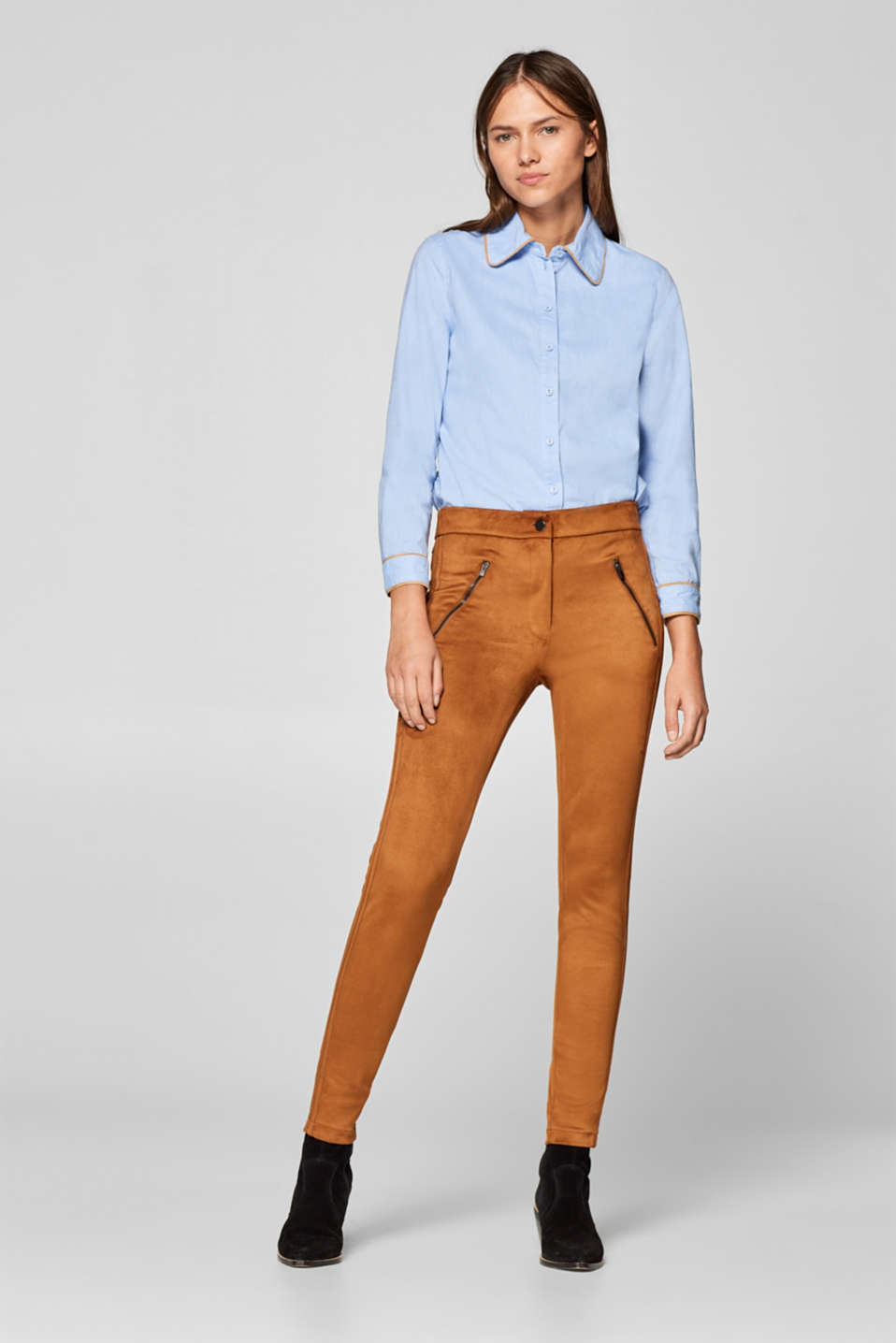 edc - Stretch-Pants in Veloursleder-Optik