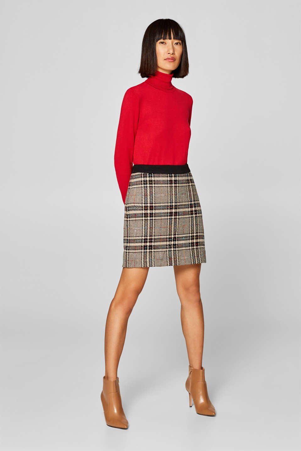 edc - Skirt with colourful woven checks