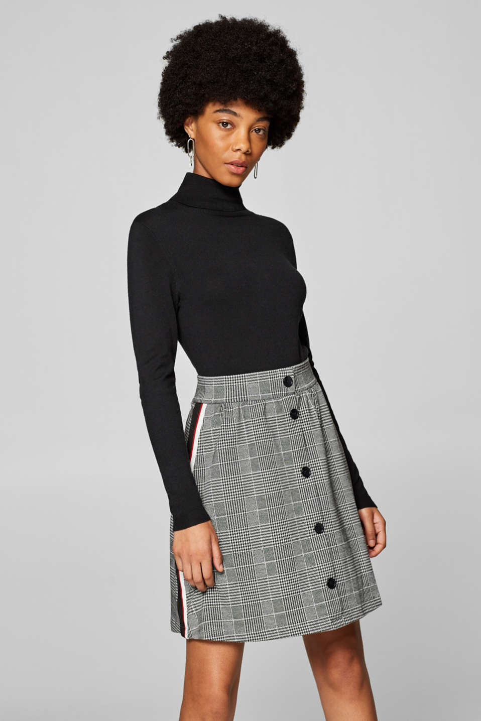 edc - Stretch jersey skirt with tuxedo stripes