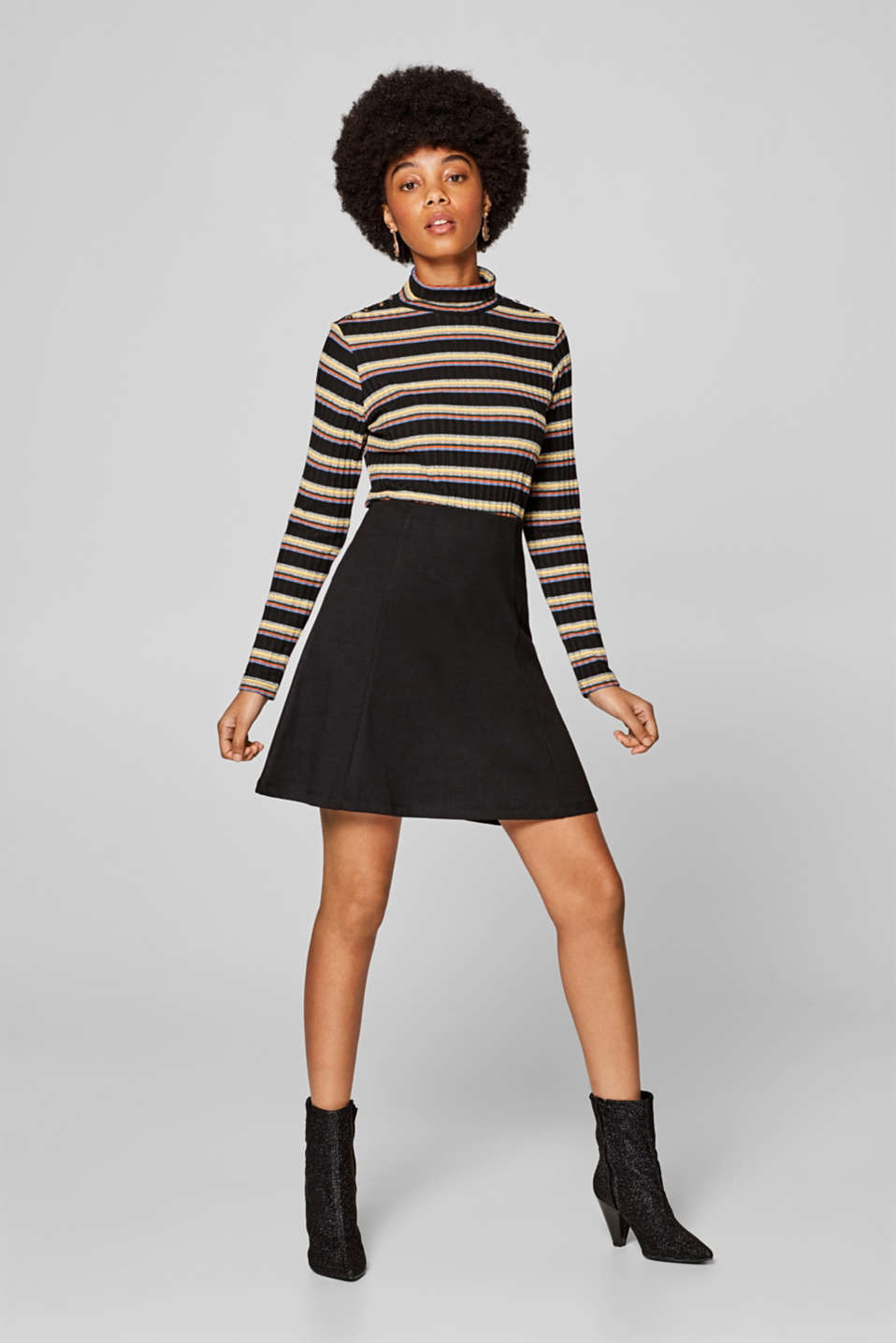 edc - A-line jersey skirt with a houndstooth check pattern