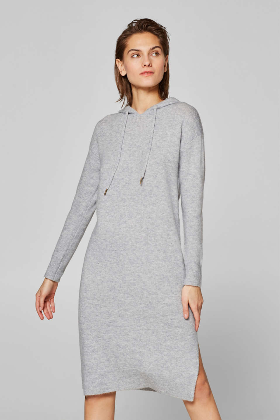 edc - With wool: Knit dress with a hood