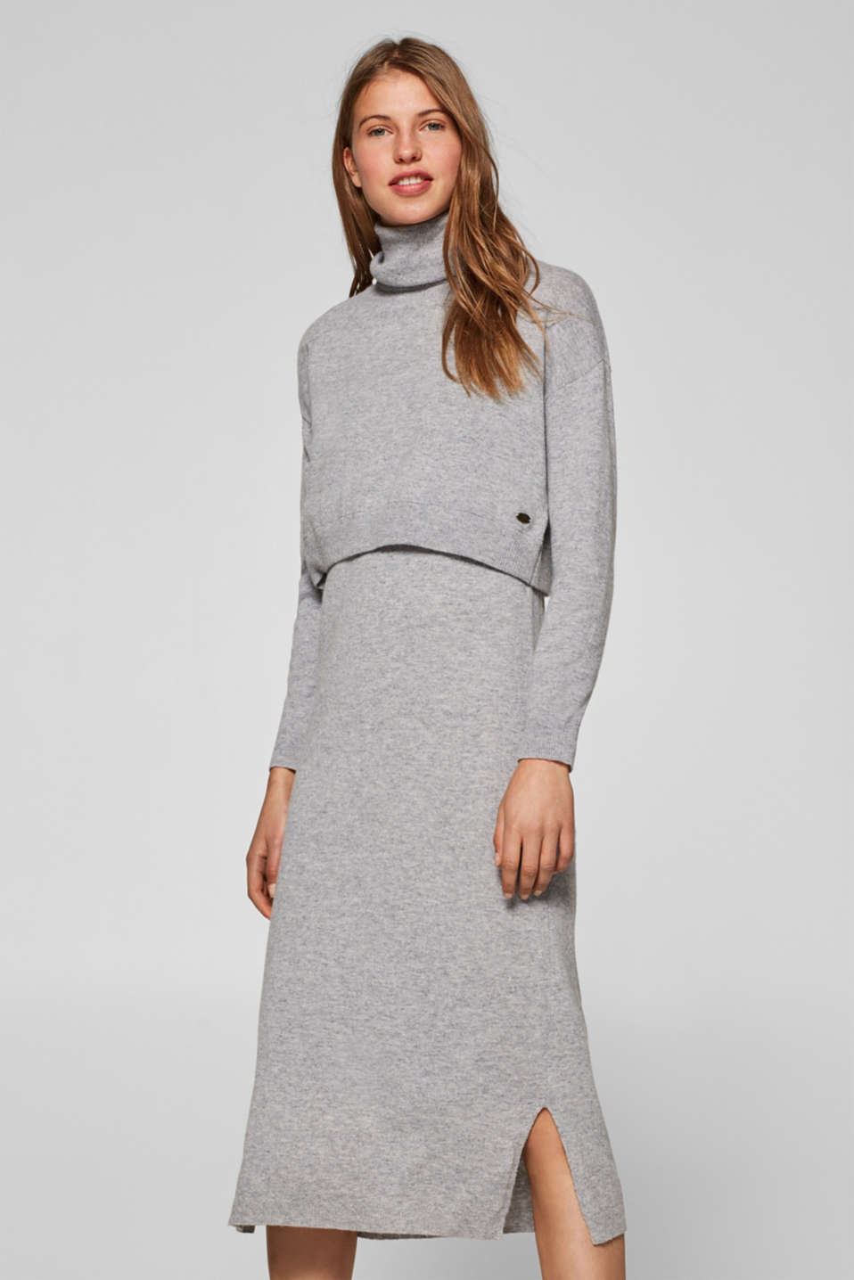 edc - With wool: knitted dress in a 2-in-1 look