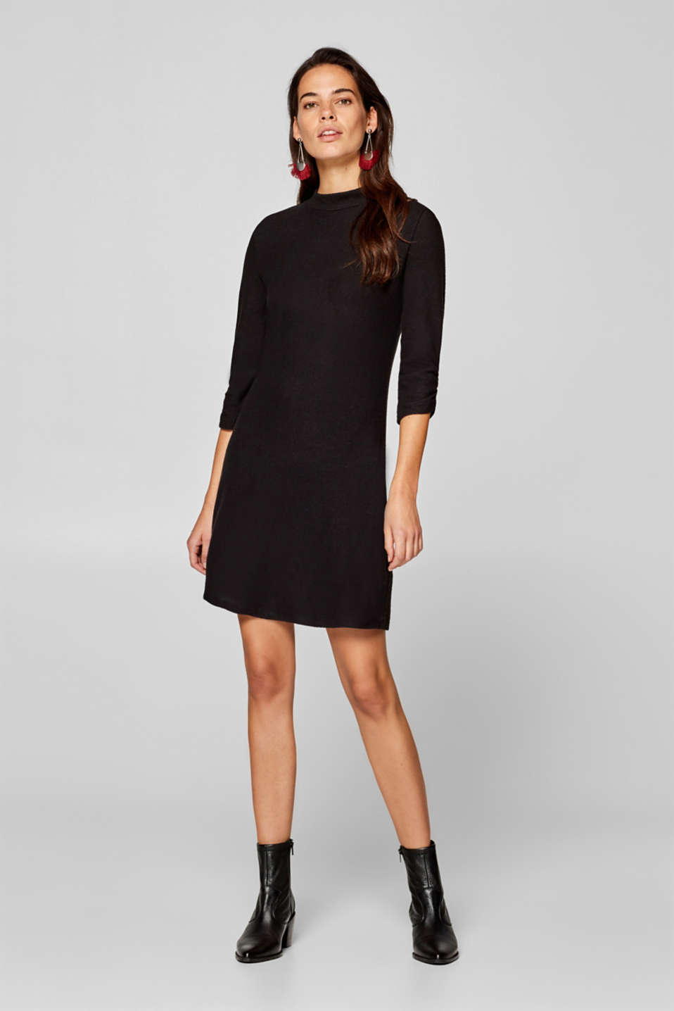 edc - Stretch jersey dress with gathered sleeves