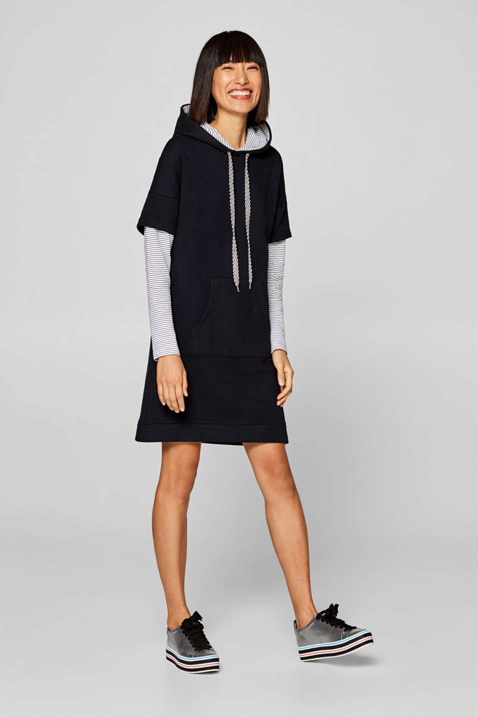 edc - Hoodie dress with striped layer details