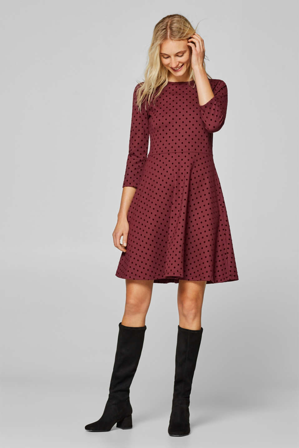edc - Jersey dress with velvety polka dots
