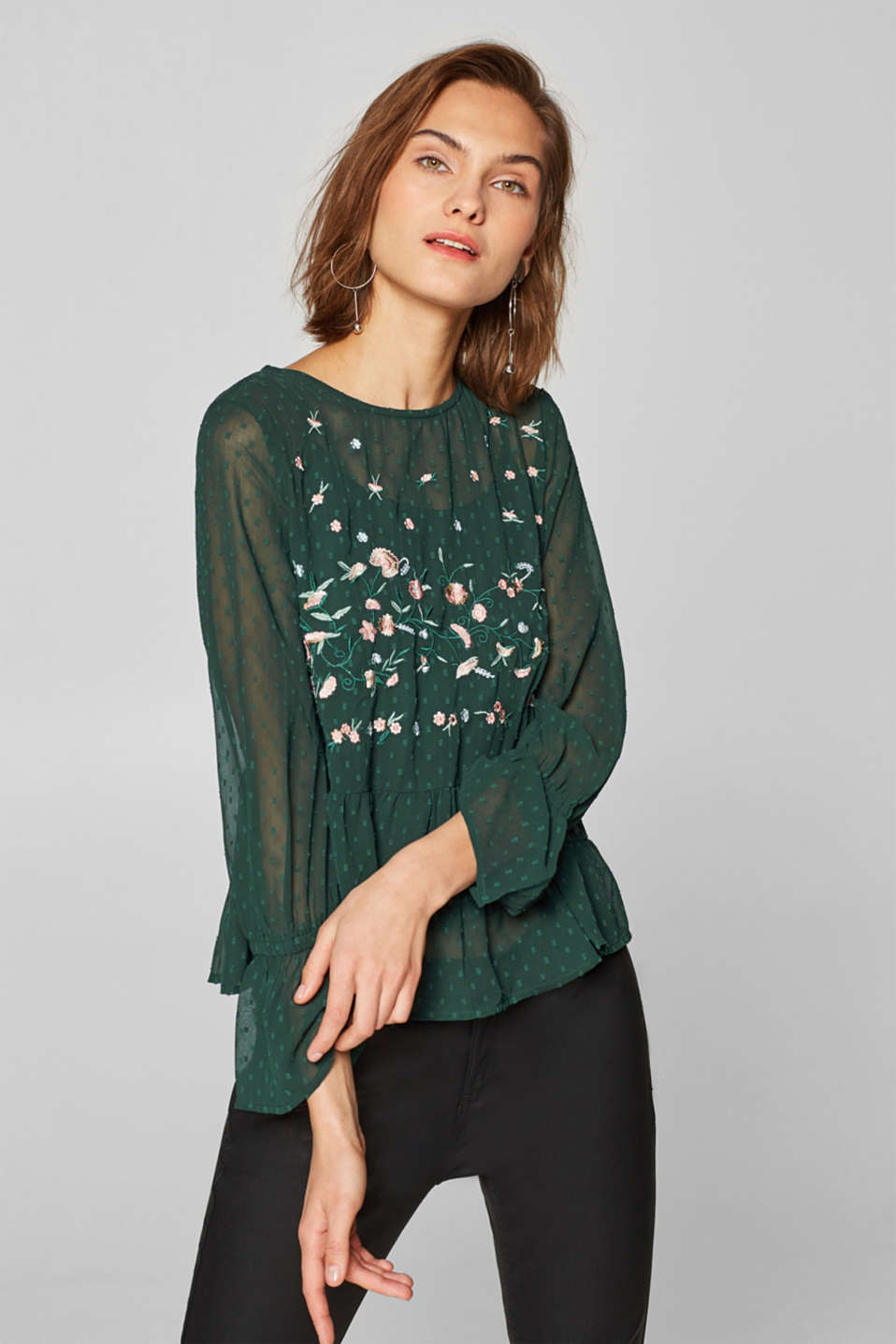 edc - Polka dot chiffon blouse with floral embroidery