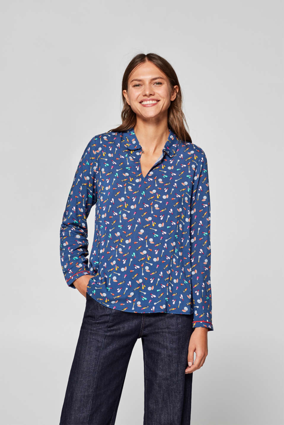 edc - Blouse with a colourful motif print