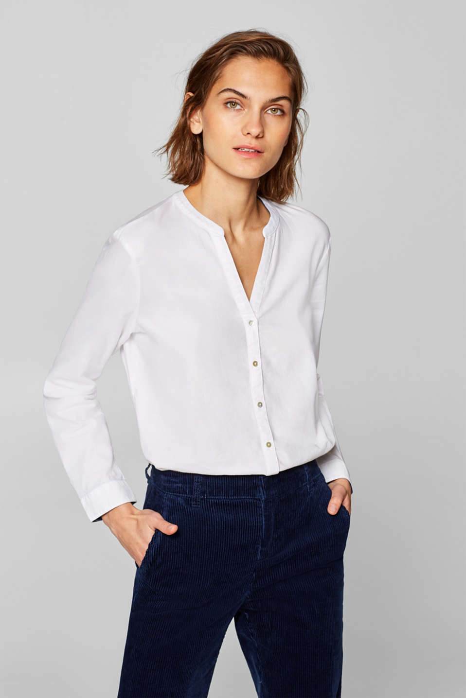 edc - Casual Oxford-bluse, 100% bomuld