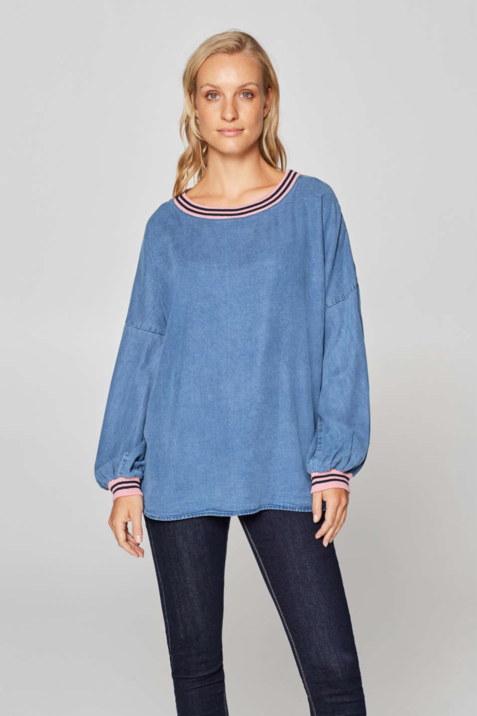 edc - Balloon sleeve blouse with ribbed borders