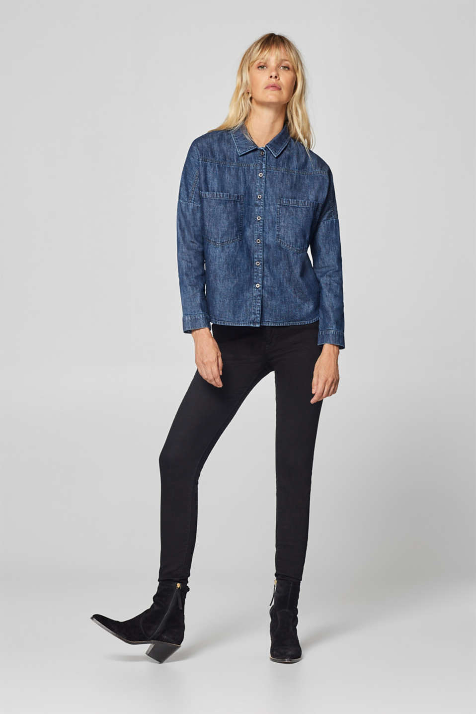 edc - Denim blouse with a high-low hem, 100% cotton