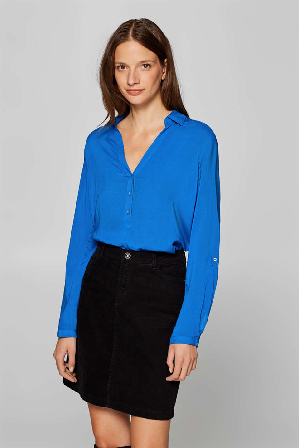 edc - Delicate shirt blouse with turn-up sleeves