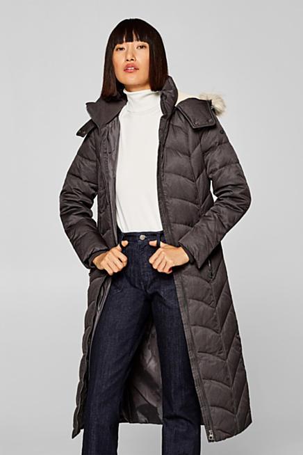 516d35e7dba7 Manteau en duvet à capuche amovible ornée de fourrure synthétique. Gris +  argent