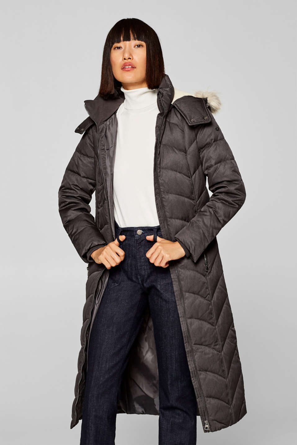 edc - Down coat with detachable fake fur hood