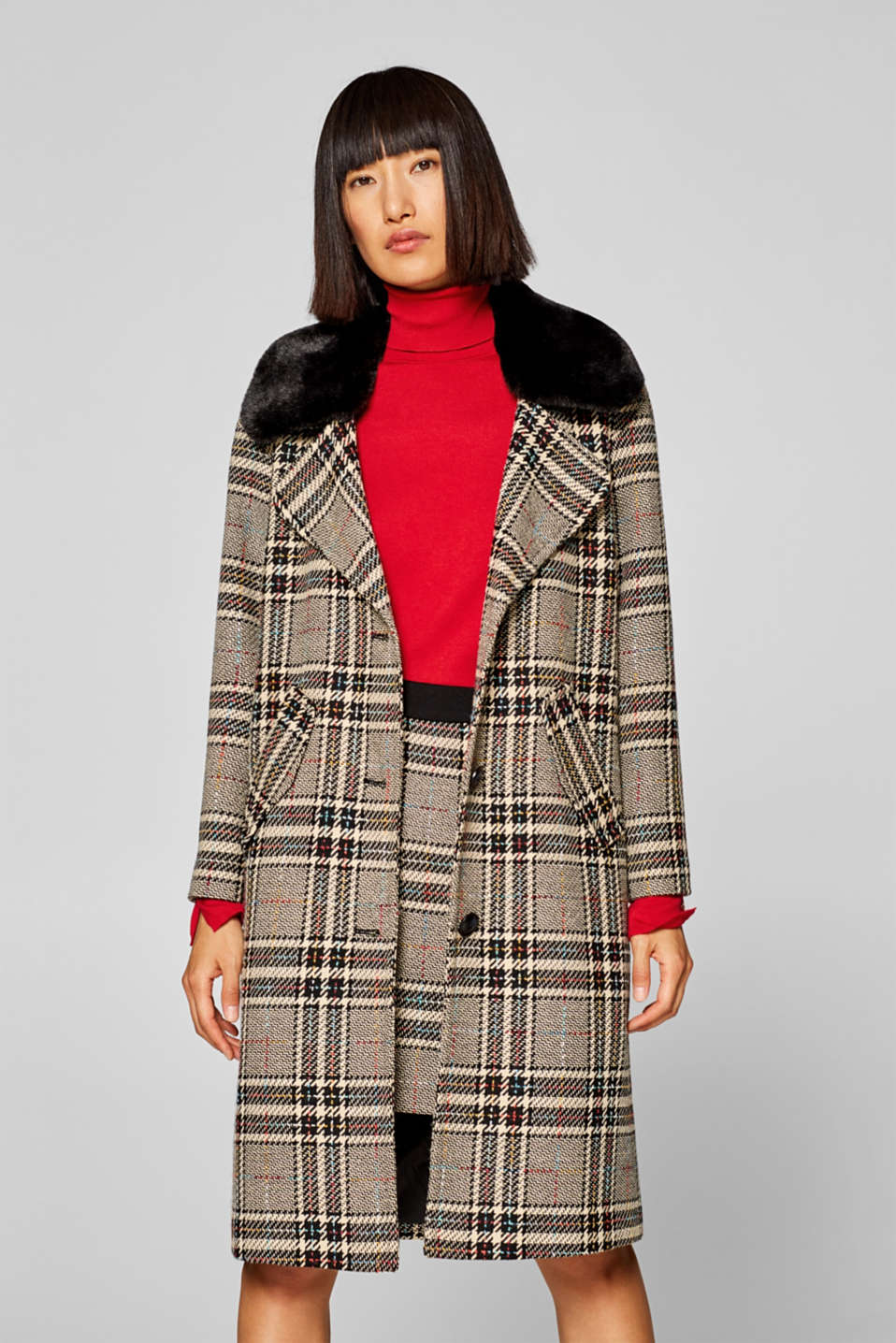 edc - Checked coat with a detachable faux fur collar
