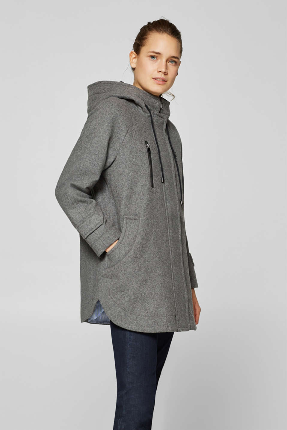 edc - Made of blended wool: hooded A-line coat