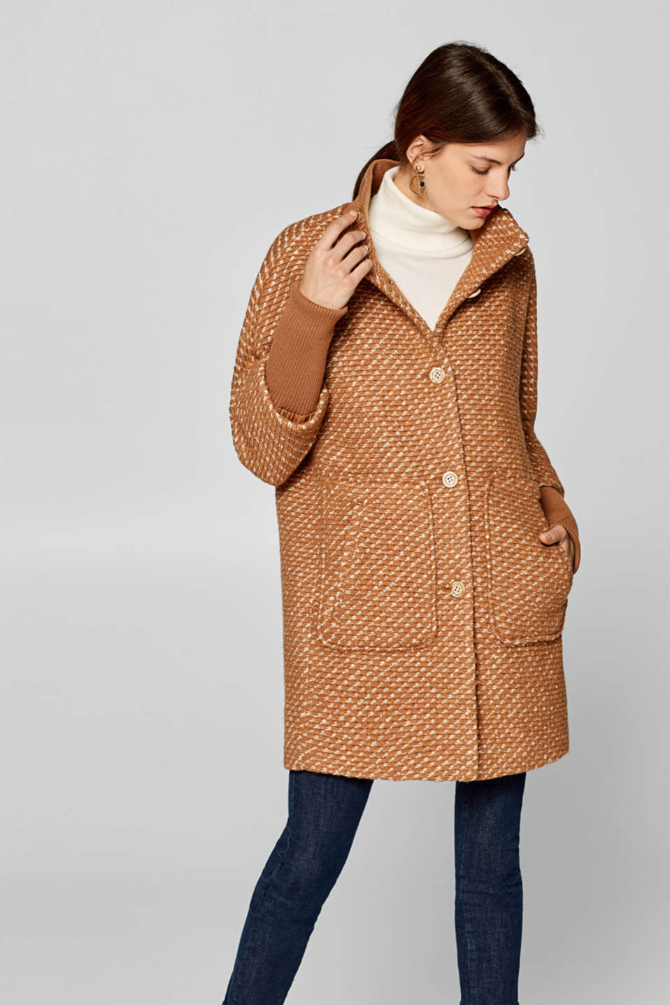 edc - Made of blended wool: Textured coat with ribbed cuffs