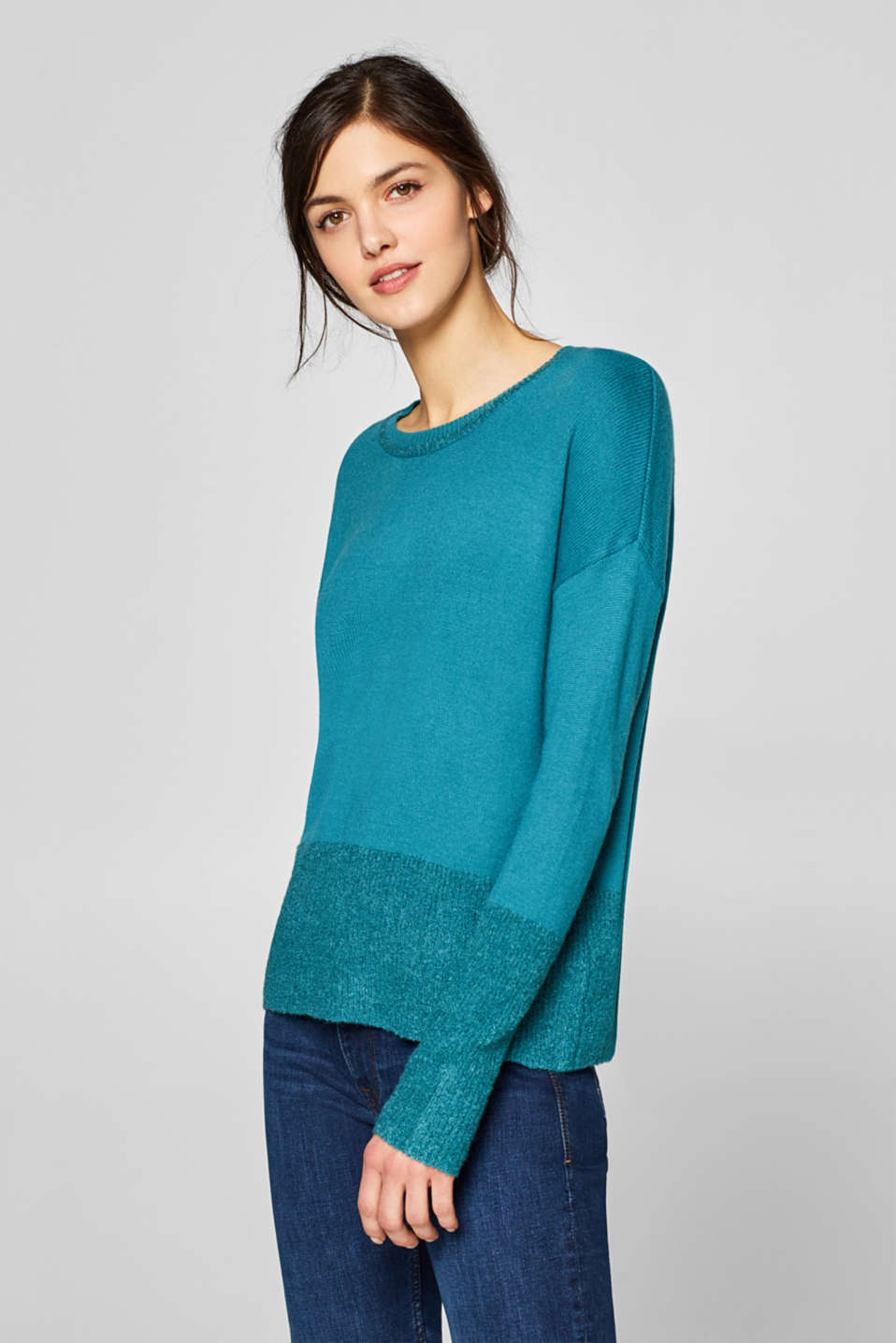 edc - Wool blend: jumper with bouclé details