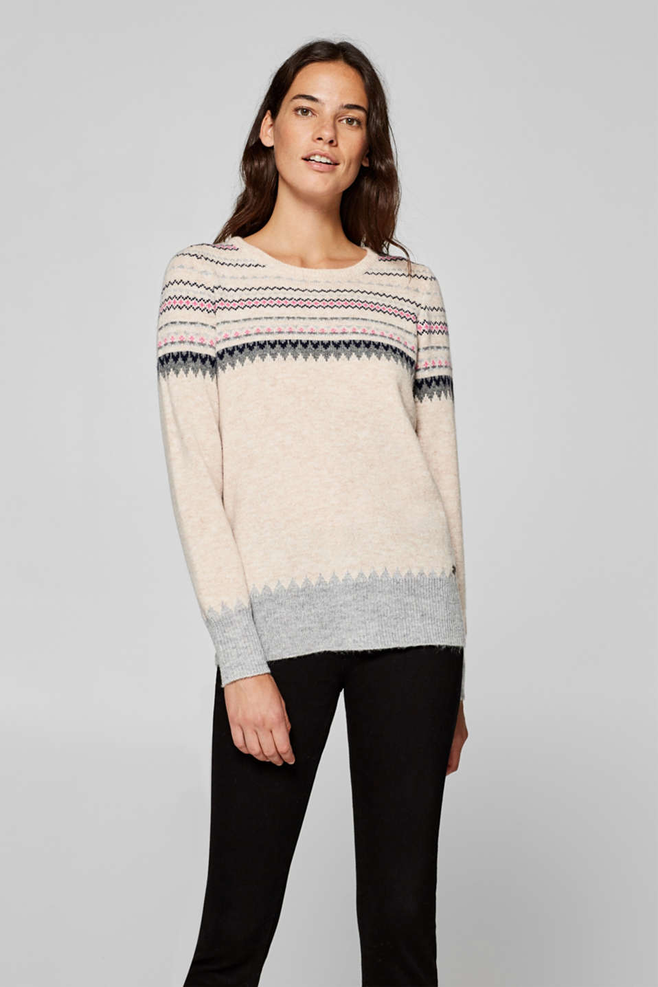 edc - Mit Wolle: Jacquard-Pullover