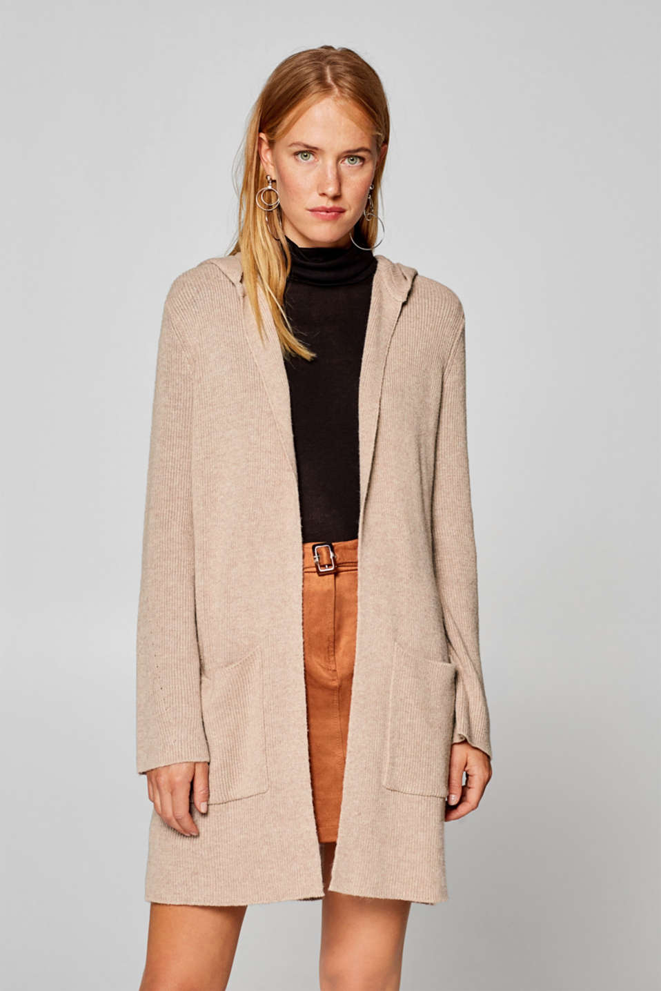 edc - With wool: long hooded cardigan