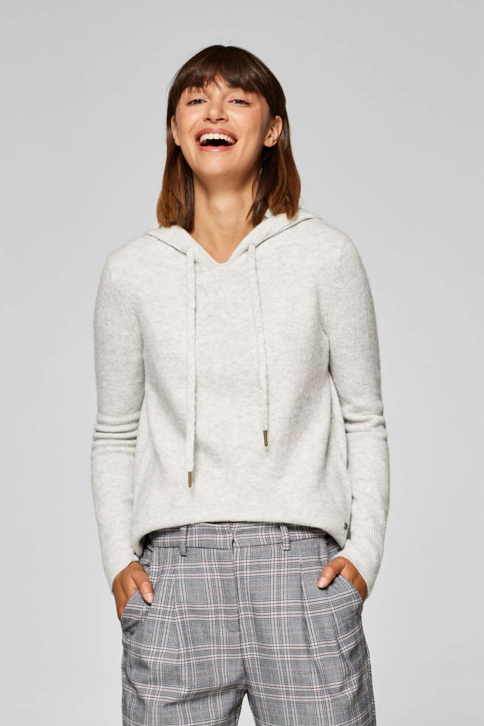 edc - Wool blend: casual hooded jumper