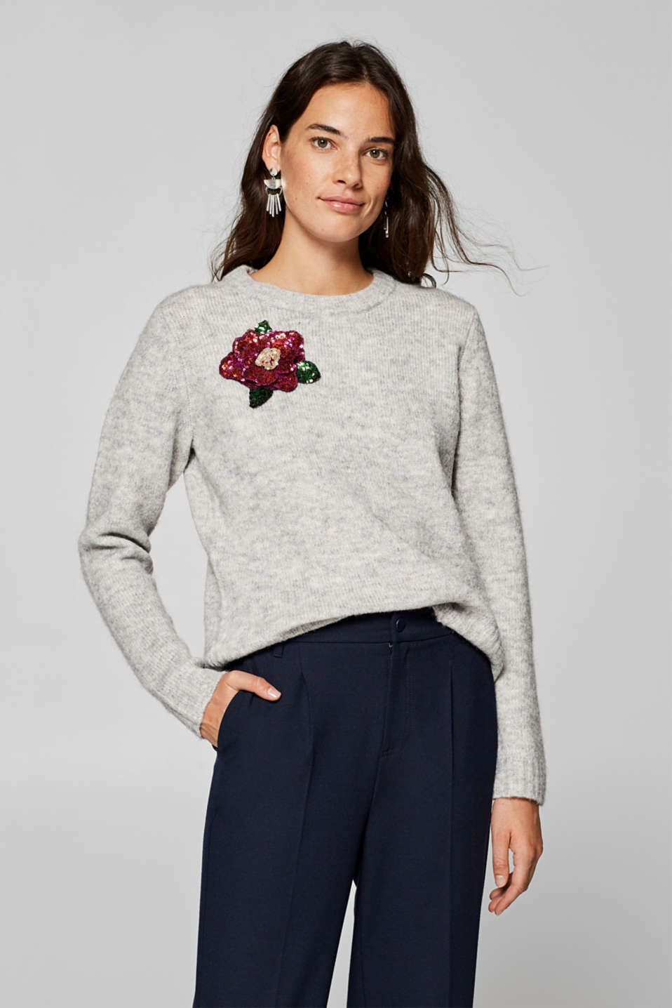 edc - Wool blend: sequin flower jumper