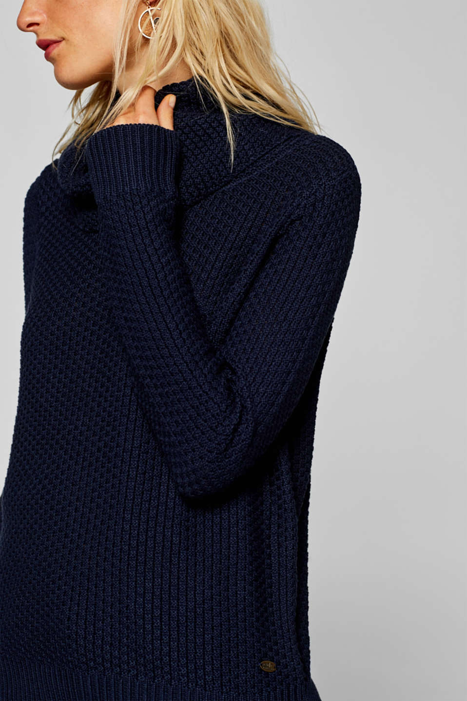 edc - Textured jumper with a loose roll neck