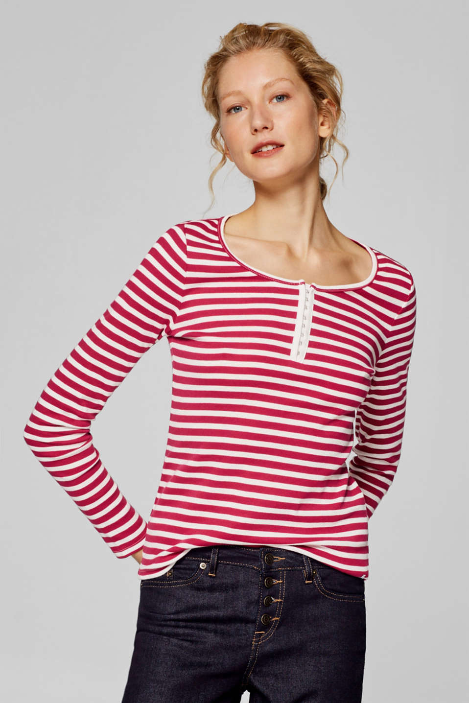 edc - Long sleeve top with a hook fastener, 100% cotton