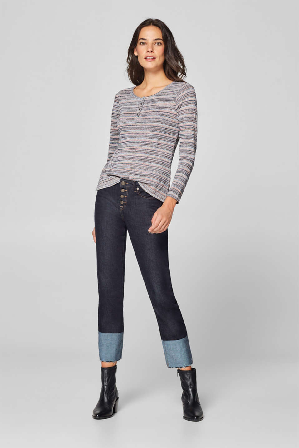 edc - Long sleeve melange top with colourful stripes