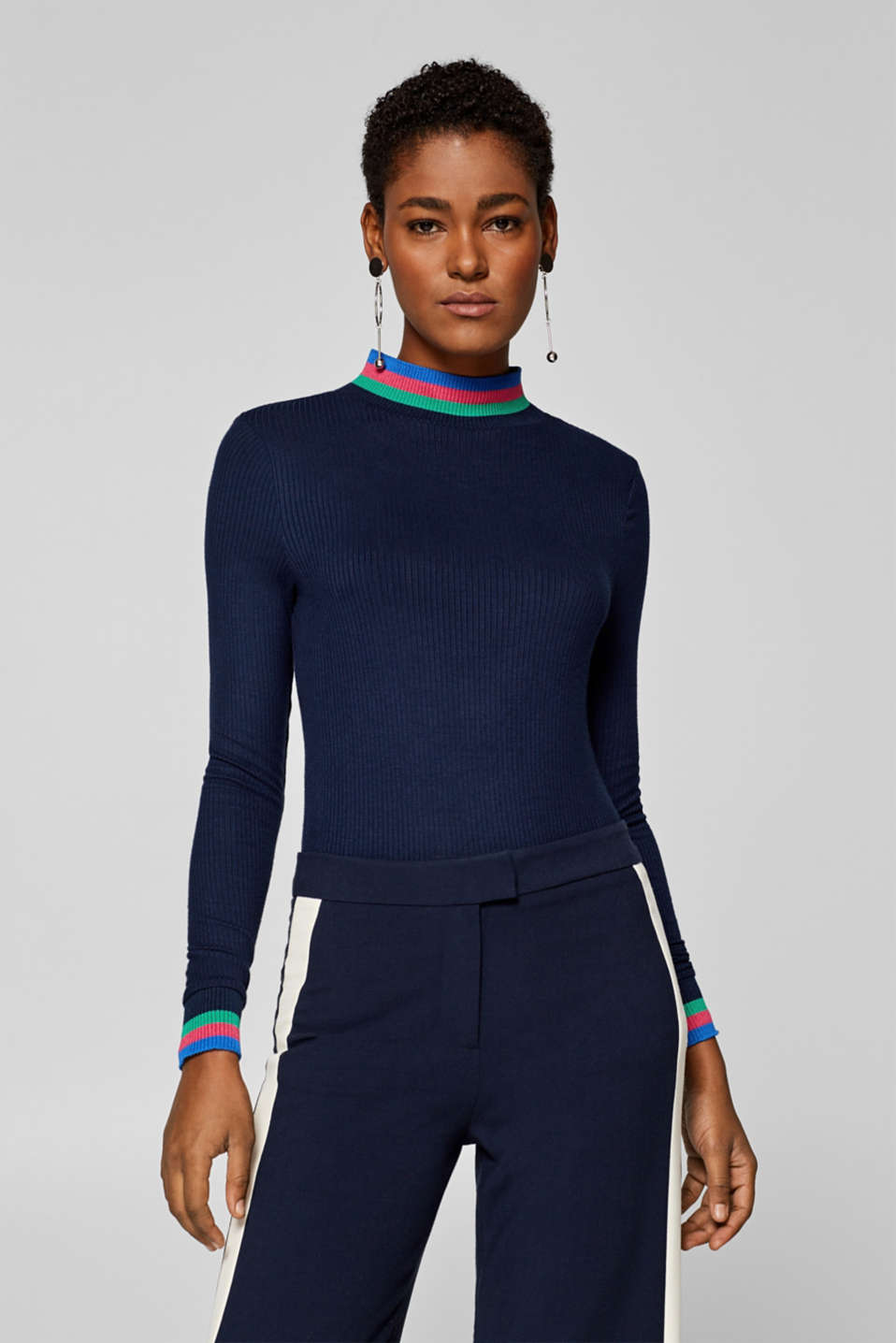 edc - Long sleeve top in ribbed jersey