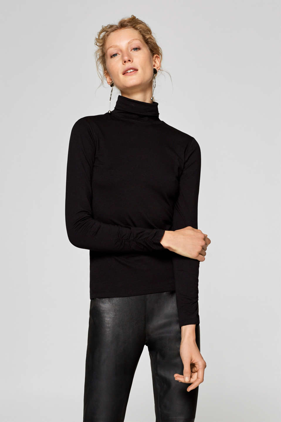 edc - Long sleeve polo neck top in stretch cotton