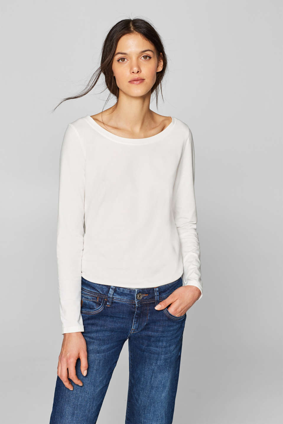 edc - Stretch long sleeve top with distinctive stitching