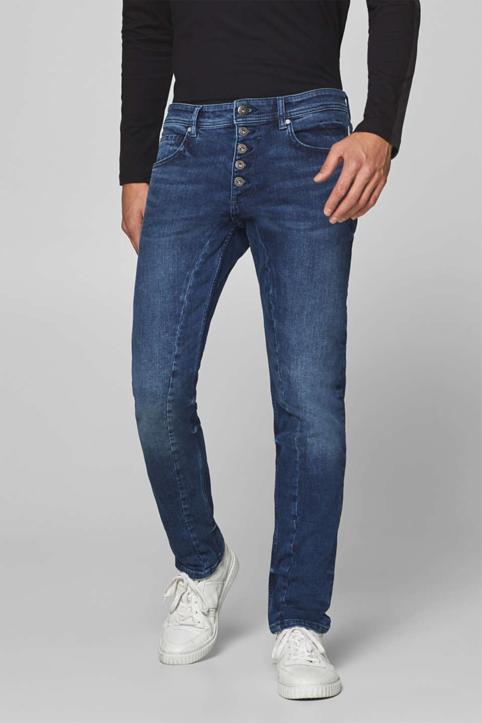edc - Stretch jeans with a visible button placket