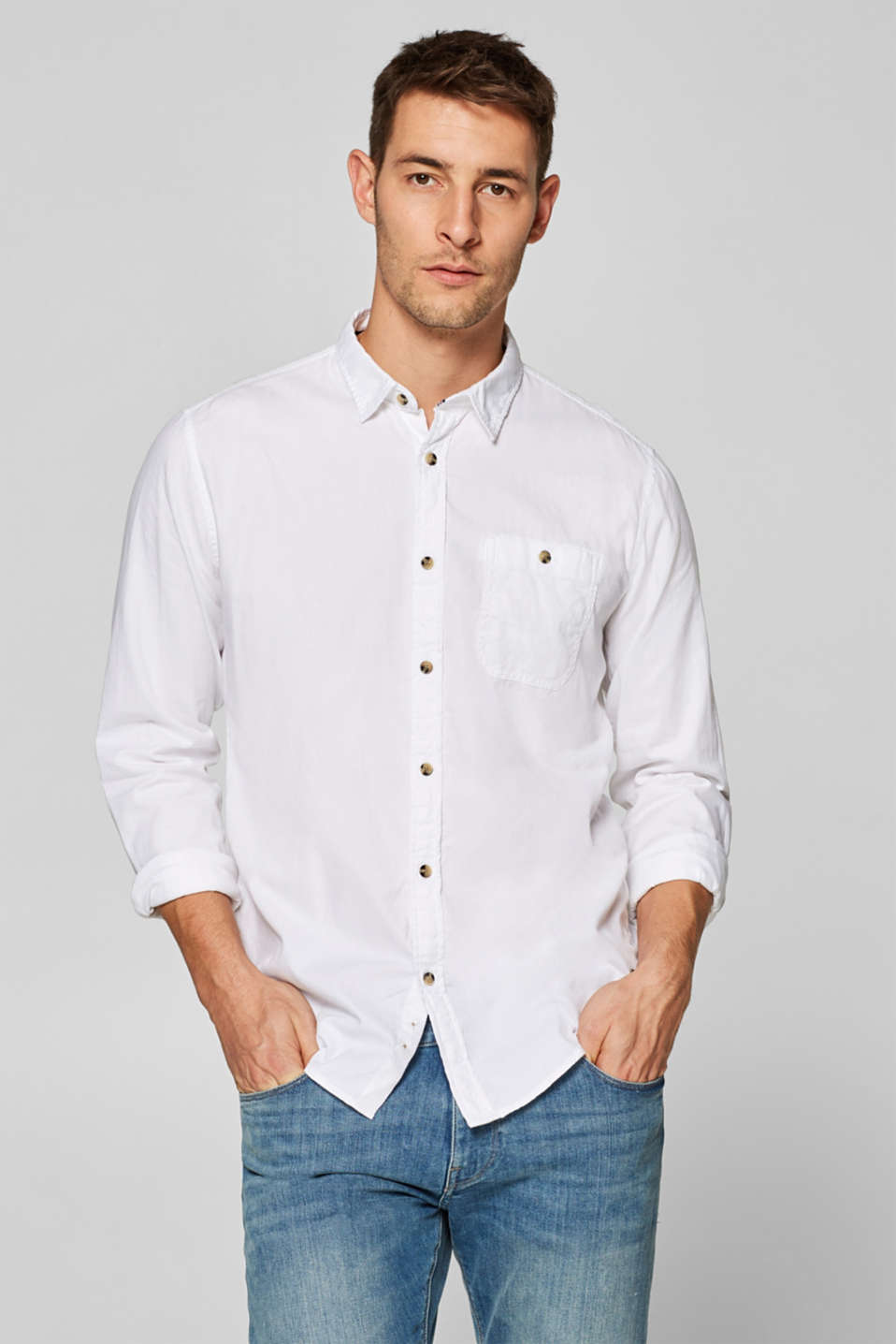 edc - Textured shirt with organic cotton