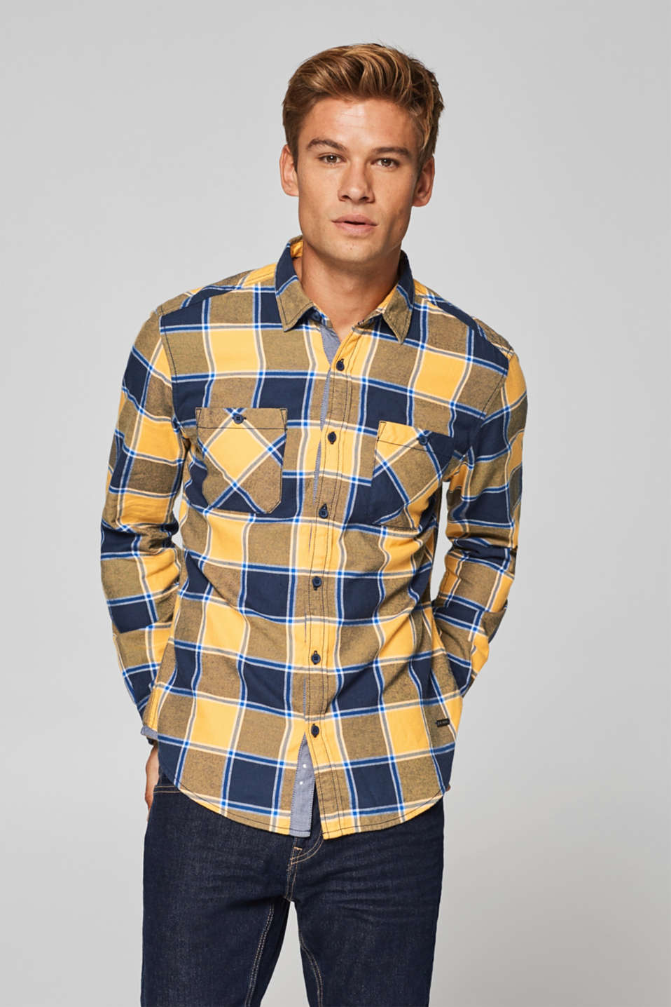 edc - Flannel shirt with checks, 100% cotton