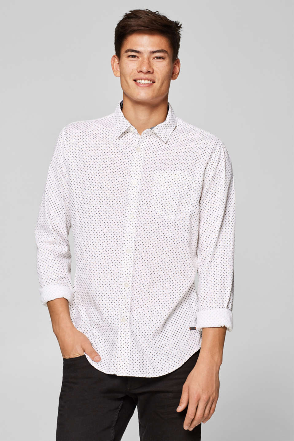 edc - Textured shirt with a print, 100% cotton