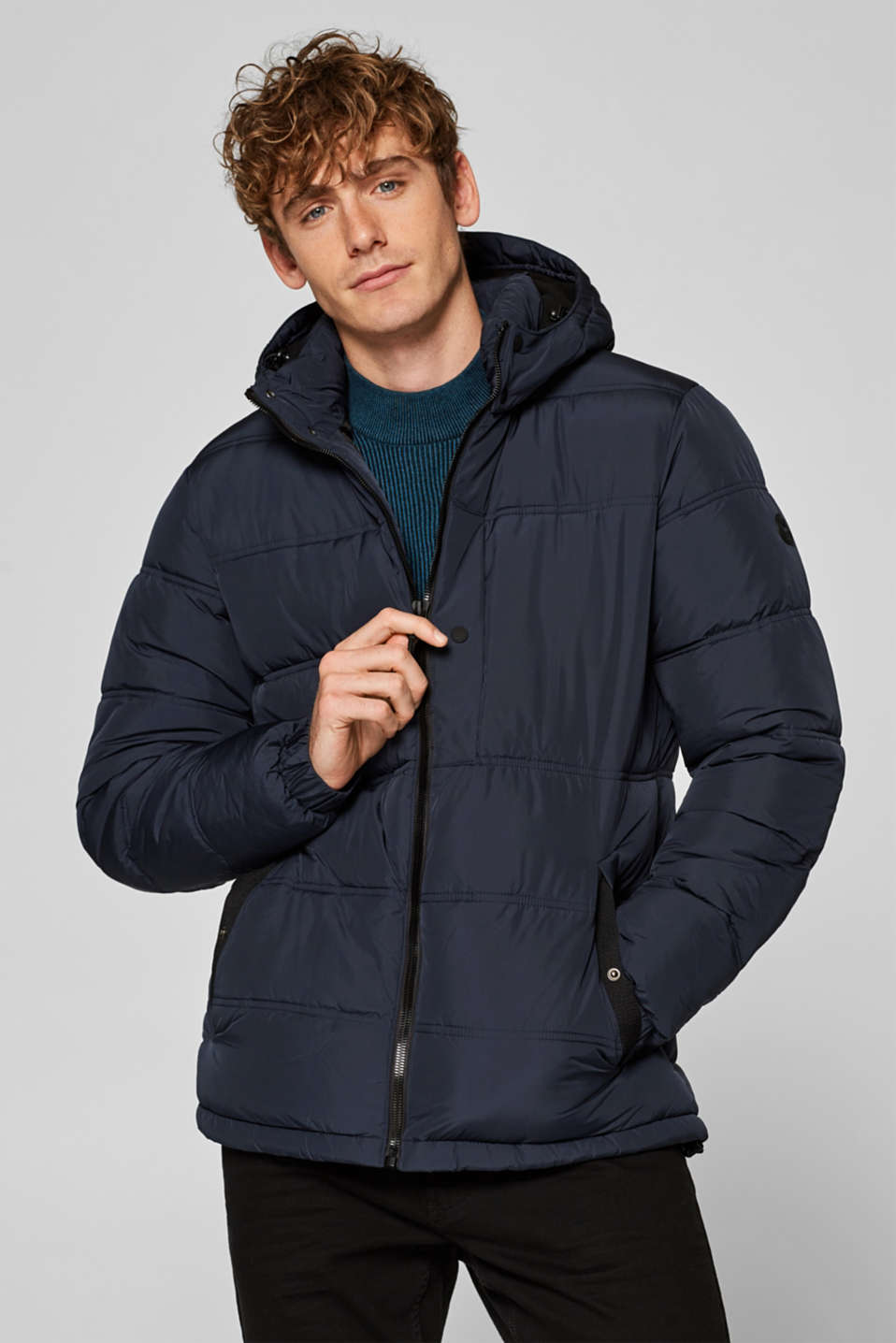 edc - Padded quilted jacket with an adjustable hood