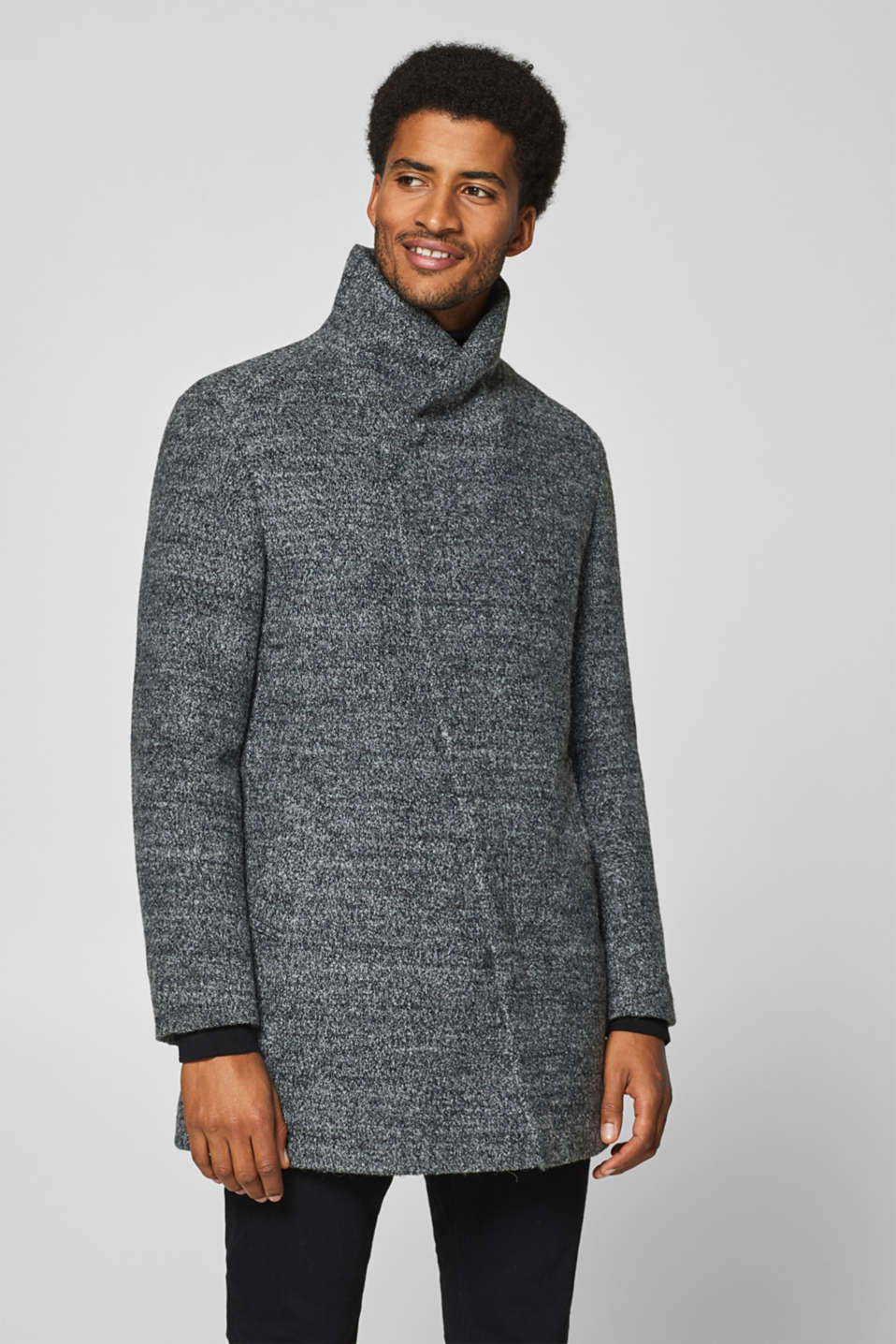 edc - Wool blend: coat with asymmetric collar