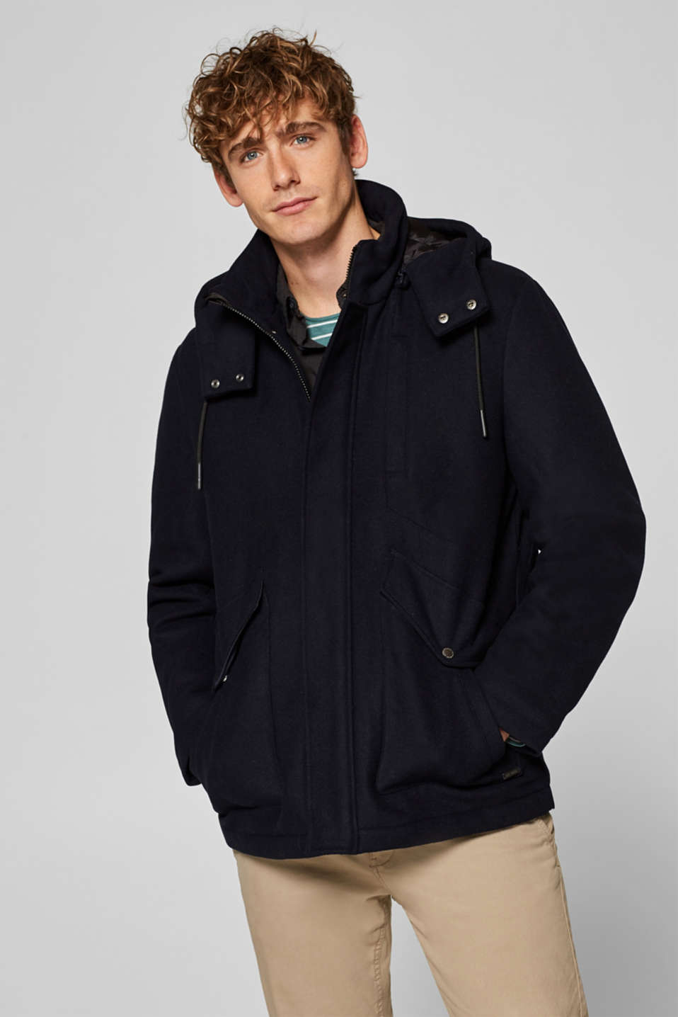 edc - Wool mix: jacket with adjustable hood