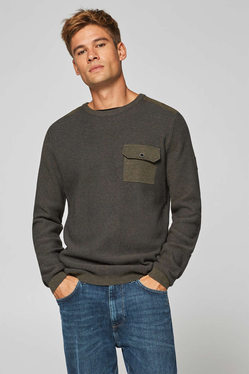 edc - 100% cotton jumper with a breast pocket